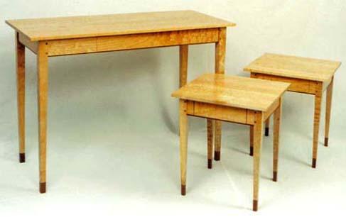 Set Of Hall Table And Two End Tables Birdseye Maple U0026 Walnut   $5395.00.  Cherry   $4850.00. Curly Maple U0026 Walnut   $4150.00